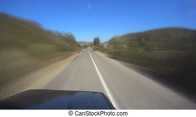 Pov Top Of Car On country roads - car speeding with heart...
