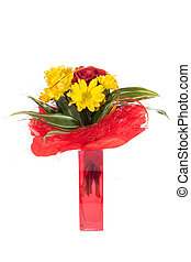 Bouquet of fresh flower isolated on white