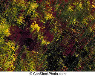 Jittery Yellow - Abstract acrylic in yellow and burgundy