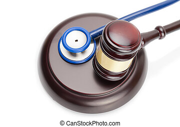 Judge gavel and stethoscope on white - Wooden judge gavel...
