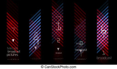 oblique red and blue stripes with numbers