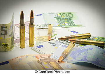 composition with bullets and euros