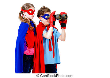 future - Boy and girl teenagers in a costume of superheroes...