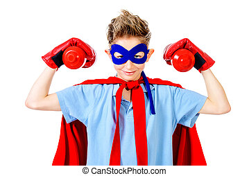 strong boy - A boy teenager in a costume of superhero...