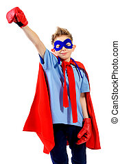concept hero - A boy teenager in a costume of superhero....