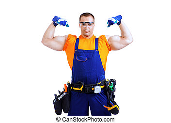 powerful worker - Portrait of an industrial worker posing...