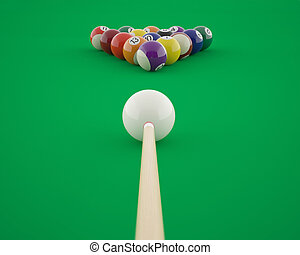 Billiard balls before hitting on a green billiard table. 3d...