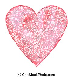 Vector illustration of watercolor heart with floral pattern on white background