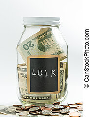 Glass Jar with chalk panel used for 401K retirement - Glass...