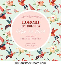 Baby Arrival or Shower Card - with Tropical Bird Flower Design - in vector