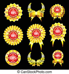 set of golden badges - The set of golden badges isolated on...