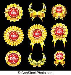 jogo, de, dourado, emblemas,
