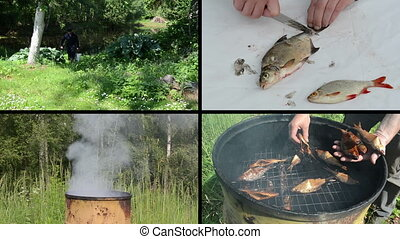fish prepare collage - Fisher carry full bucket of fish Hand...