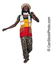 Happy man - Isolated smiling rastafarian man, clipping path,...
