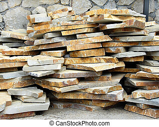 Flagstones on stack - building materials, natural flagstones...