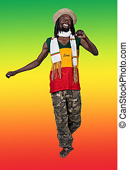 Happy man - Isolated smiling rastafarian man, clipping path,...
