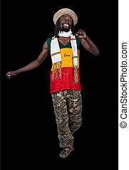 Happy man - Isolated smiling rastafarian man, clipping...