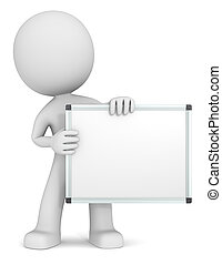 Whiteboard. - The dude 3D character holdning Whiteboard....