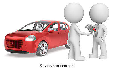 Buy a Car. - The dude 3D character getting Keys to Red Car....