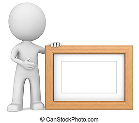 Wooden picture frame. - The dude 3D character holdning...