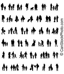walking families - Black silhouettes of walking families ,...