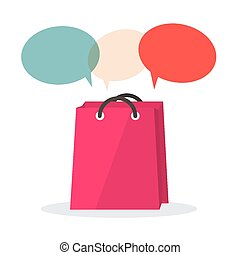 Vector Shopping Bag with Empty Speech Bubbles Isolated on...
