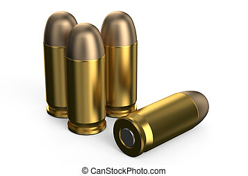 Pistol bullets 9 mm - Pistol bullets isolated on white...