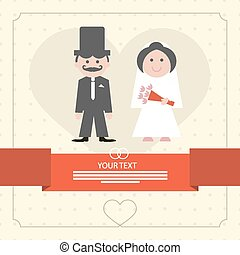 Retro Flat Design Wedding Card Vector Illustration