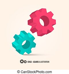 Abstract Retro 3D Vector Cogs - Gears Illustration