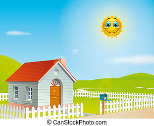 House at a sunny day - Illustration of a house at a sunny...