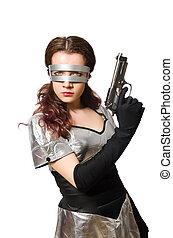 mujer, en, tecnología, concepto, aislado, en, blanco,...