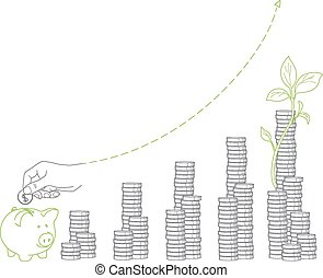 Money growth. Stacks of coins and seedling, piggy bank