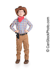 Small real Cowboy with gun standing