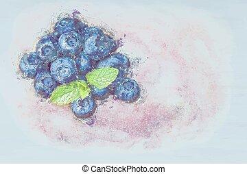 Fruit illustration - Grunge illustration of fruit A handful...