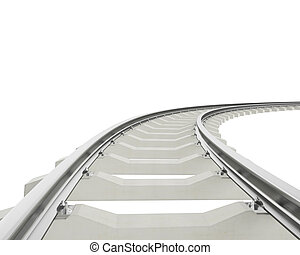Illustration bend, turn railway isolated on white background...