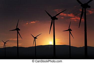 eolian  turbine - eolian turbine farm,wind turbine