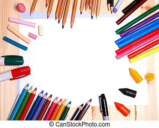 drawing materials - various drawing tools - white paper,...
