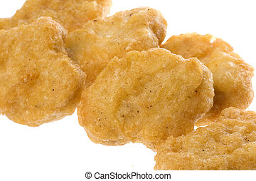 Fried Chicken Nuggets - Isolated macro image of fried...