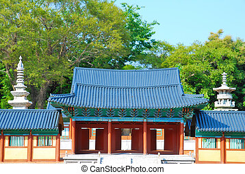 Front view of ancient temple architecture