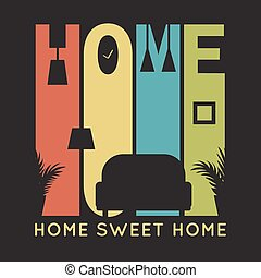 Home card with apartment icons, t-shirt graphics on black background
