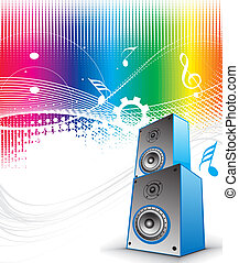 music theme - 3d speaker on retro-rainbow wave lien...