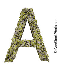 Destroyed letter of small pieces of stone covered with moss....