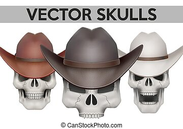 Set of Human skulls with cowboy hat Vector Illustration on...