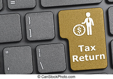 Tax return key on keyboard - Brown tax return key on...