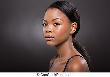 young african american woman with natural makeup - gorgeous...