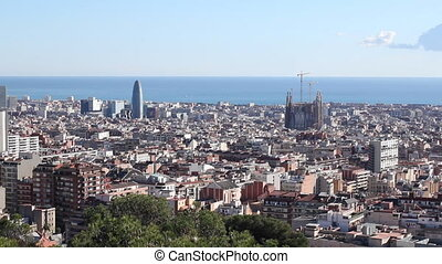 Skyline city Barcelona Sagrada Familia and other towers,...