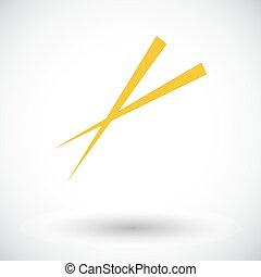 Chopsticks Single flat icon on white background Vector...