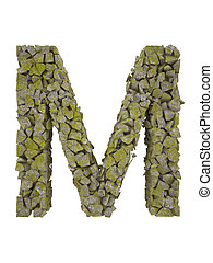 Destroyed letter of small pieces of stone covered with moss...