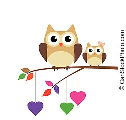 Owl Family - vector owl mom and baby owl