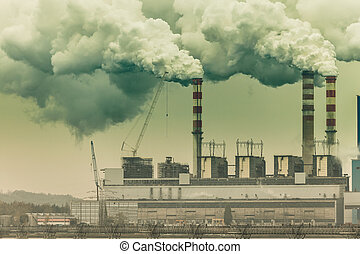 Smoke from chimney of power plant or station. Industry -...